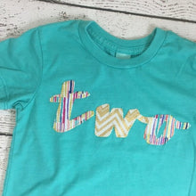 Load image into Gallery viewer, Girl's birthday shirt, teal and gold, princess party