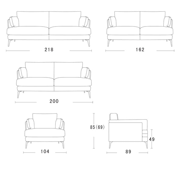 Addington Fabric Sofa Couch with Black Legs Bolsters Modern Scandinavian Design Schematics