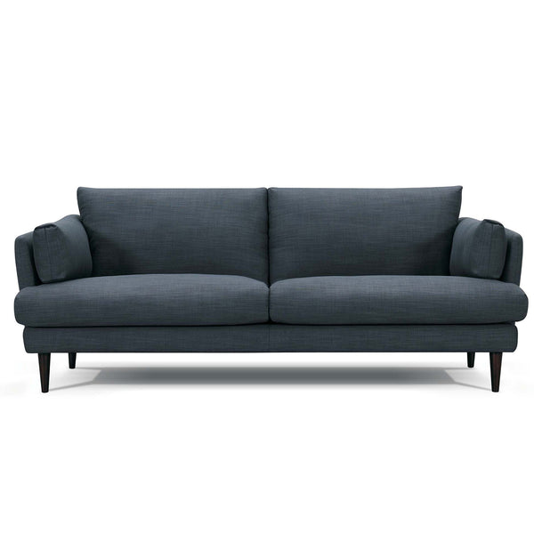 Addington Fabric Sofa Couch with Black Legs Bolsters Modern Scandinavian Design Blue