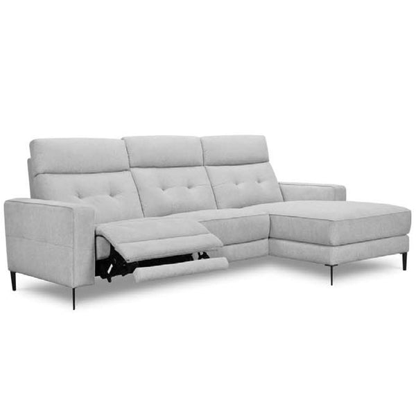Angelina Chaise Sofa Electric Recliner GREY FABRIC