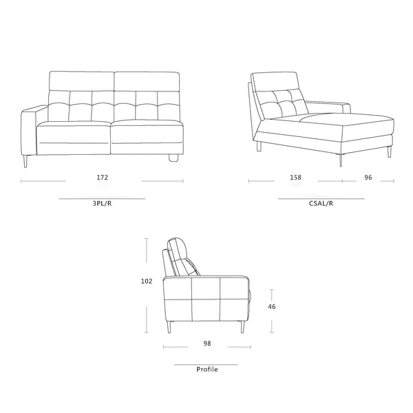 Angelina Chaise Schematic drawings