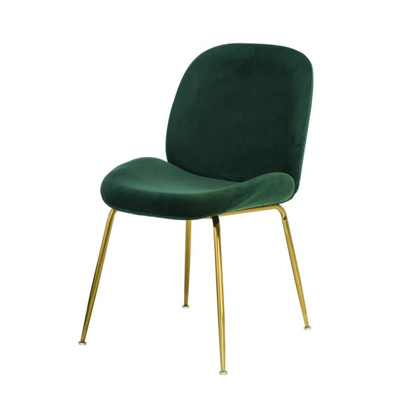 Astra Dining Chair Green Velvet with Gold Leg