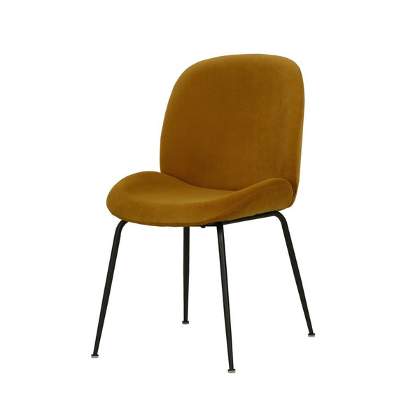 Astra : Dining Chair Mustard Velvet with Black Leg