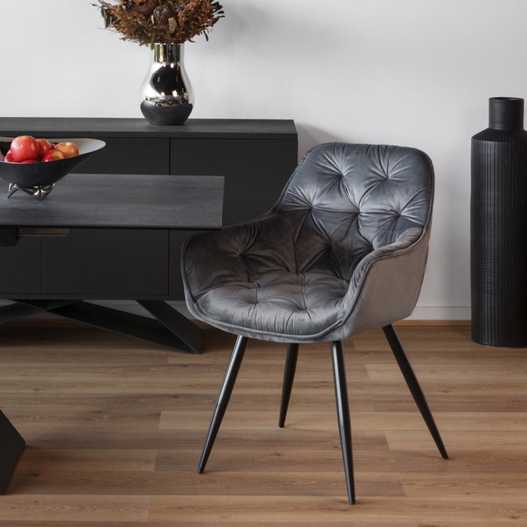 Ava : Dining Chair in Tufted Velvet Grey colour