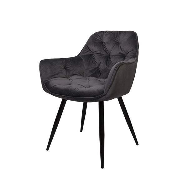 Ava : Dining Chair in Tufted Velvet midnight colour