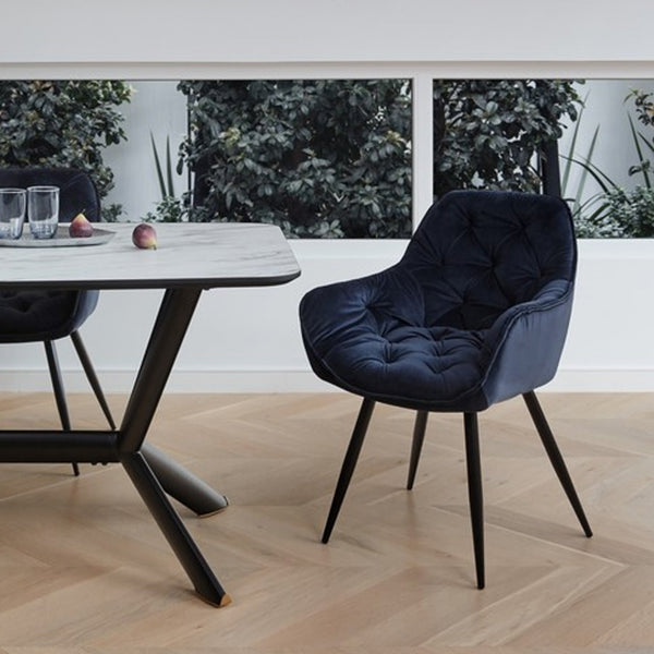 Ava : Dining Chair in Tufted Velvet int colour