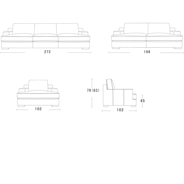Balmain large 3.5 seater Schematics