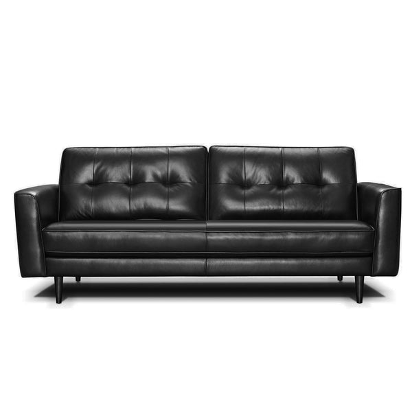 Brighton : Leather Sofa with Quilted Back & Pencil Legs
