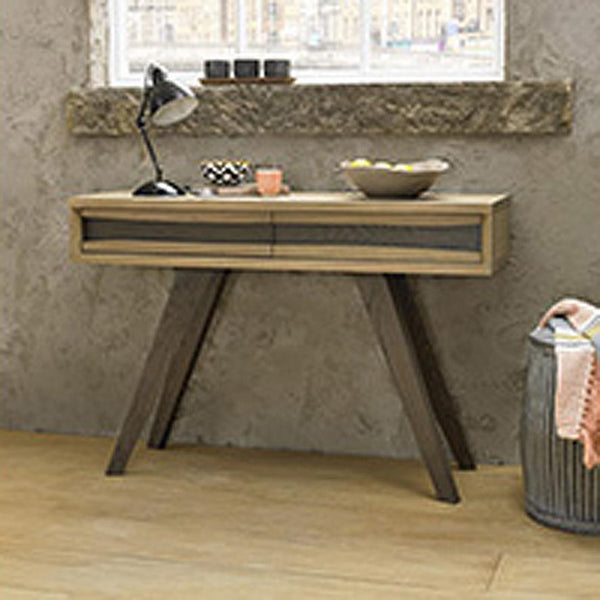 Cadell: Console Table in American Knotty Oak Solid - Modern Home Furniture