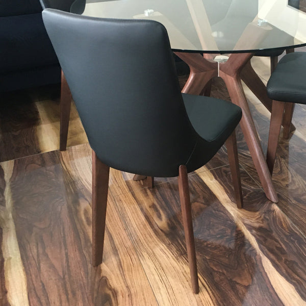 Cayman : Round Glass Dining Table with Timber Legs