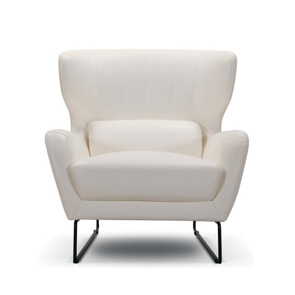 Chelsea accent chair in white leather with black skid base