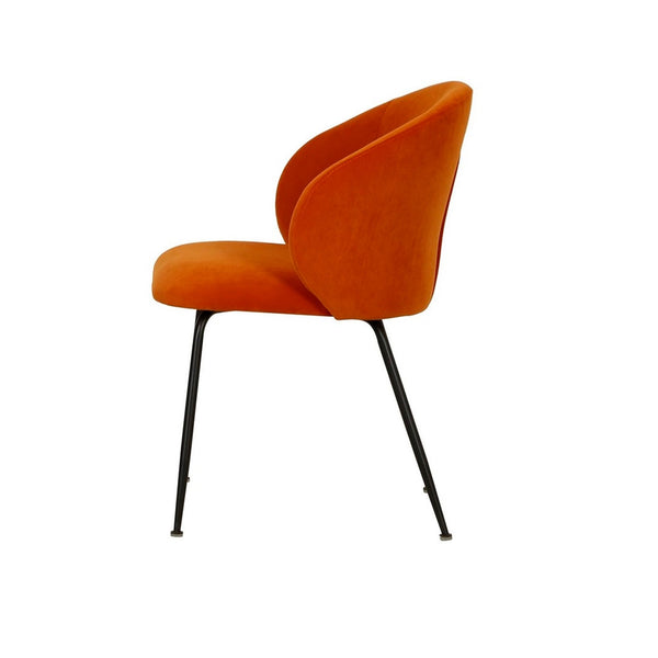 Clara dining Chair in Velvet Fabric Rust back view