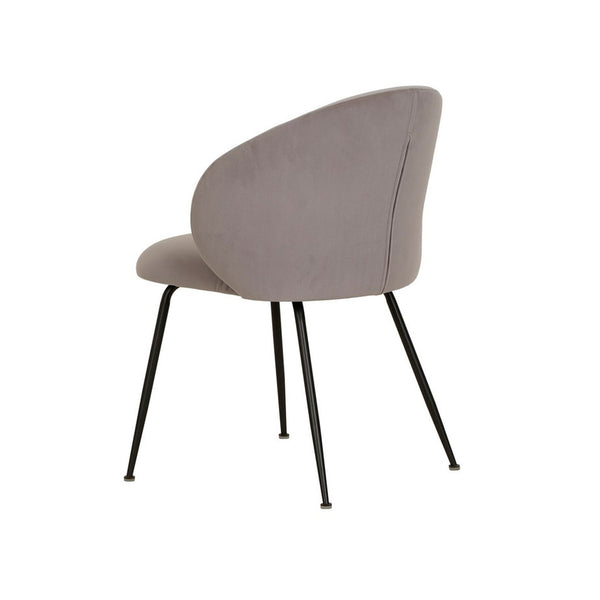 Clara dining Chair in Velvet Fabric Grey back view