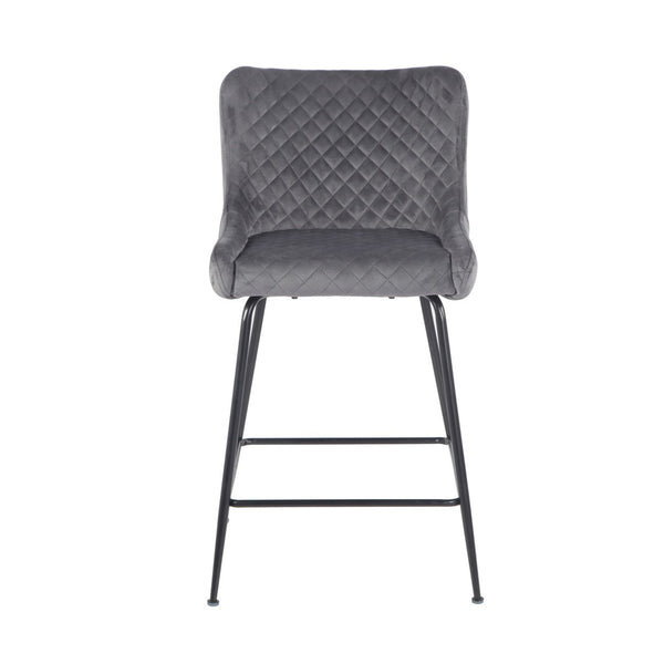 Dario bar stool Black metal frame with Velvet upholstery pebble grey