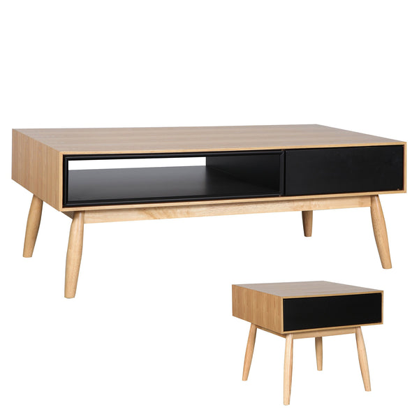 Finland : Coffee Table Ash Veneer Black cavities - Modern Home Furniture