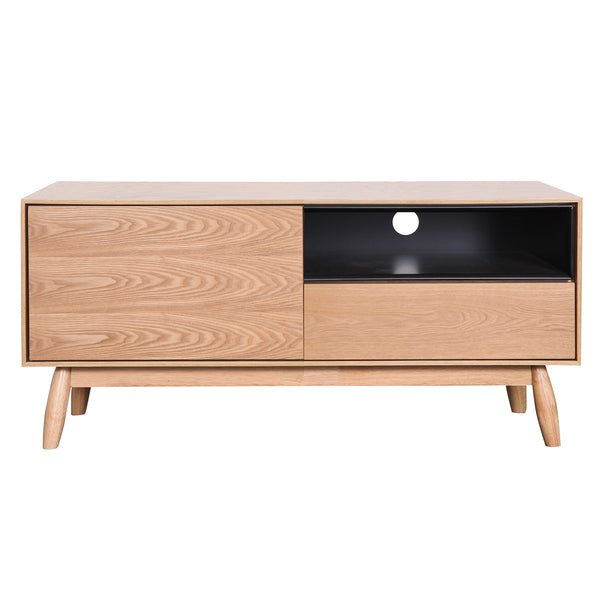 Finland : TV Unit in Ash Veneer with Black Cavities 1.1m - Modern Home Furniture