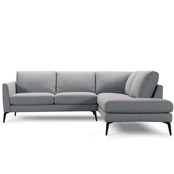 Jasper Corner Chaise Sofa in Fabric with Black Legs