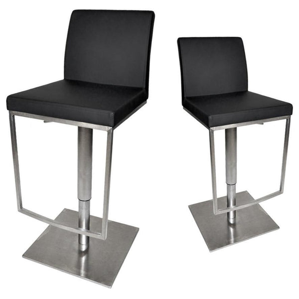 Matrix Bar Stool Brushed Stainless Steel Hydraulic Adjustable Height with Back Kitchen Bar Stool