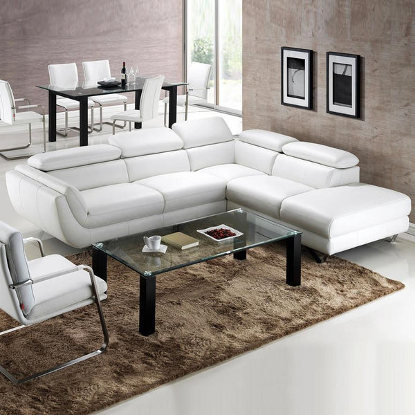 Natalie Chaise Terminal Chaise Modular Lounge Suite in Leather with Adjustable Headrest