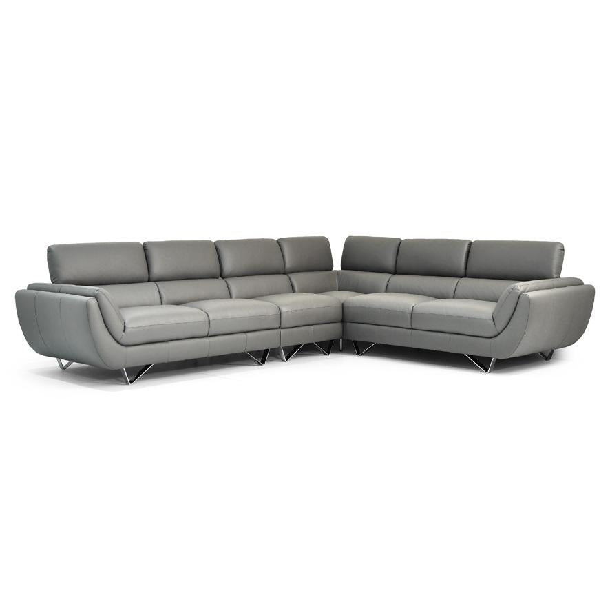 Natal leather corner in grey leather with adjustable back rests