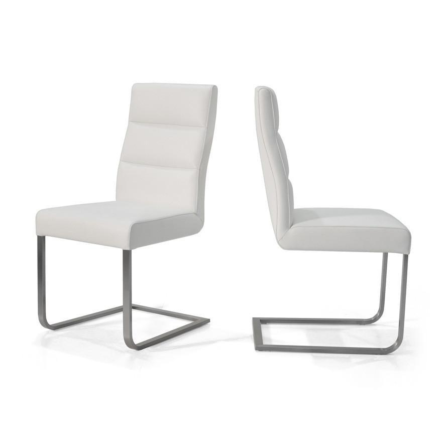 Pluto : Leather Dining Chair with Stainless Steel Cantilever Frame - Modern Home Furniture