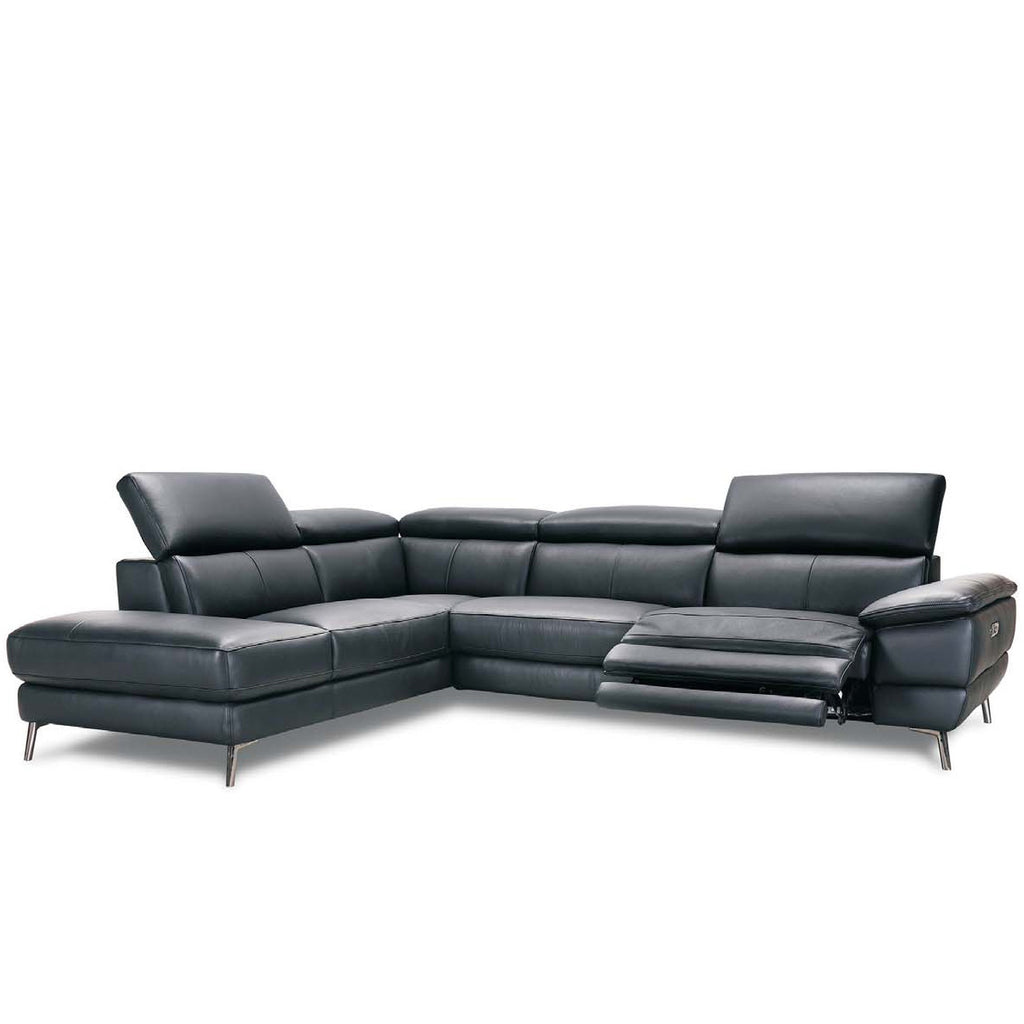 Teagan Leather Corner Chaise Sofa With Electric Recliner