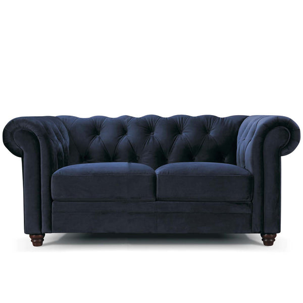2 seater Vintage Chesterfield Sofa in navy blue velvet with Studs Vintage Classic Design