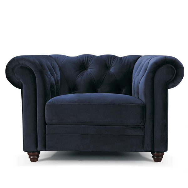 1 seater Vintage Chesterfield Sofa in navy blue velvet with Studs Vintage Classic Design