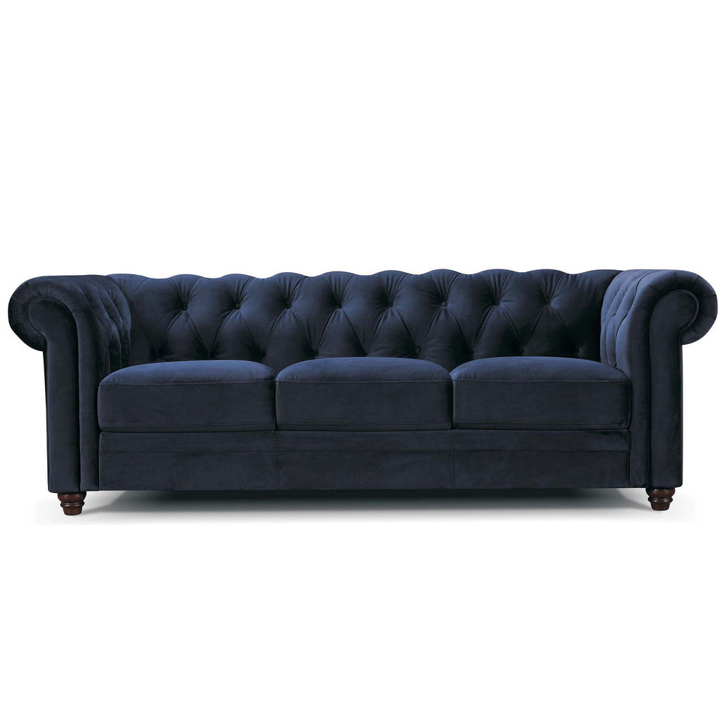3 seater Vintage Chesterfield Sofa in navy blue velvet with Studs Vintage Classic Design