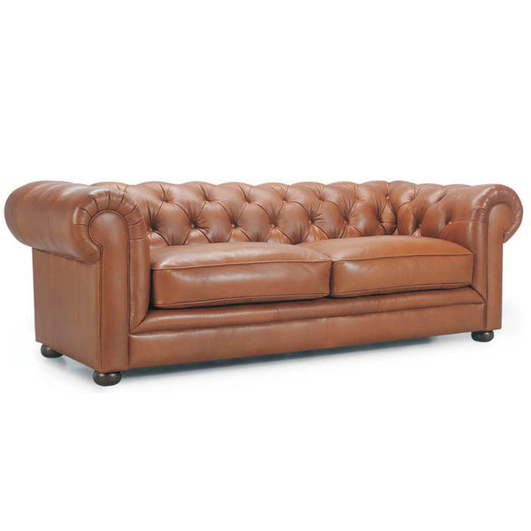 William Chesterfield Sofa in Leather Buttoned Tufted Back Scroll Arm Timber Feet Tan Leather Vintage