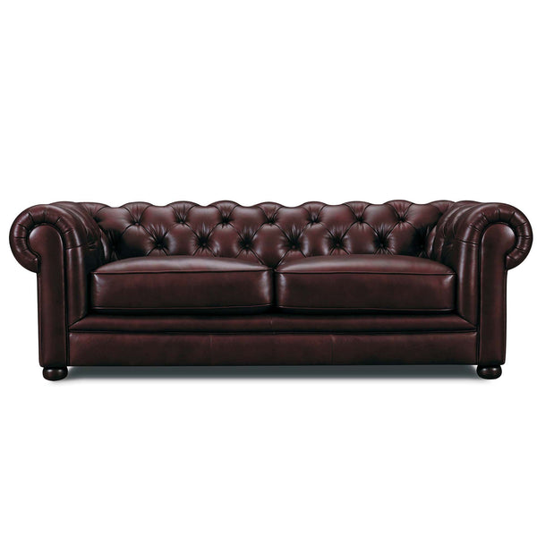 William Chesterfield Sofa in Leather Buttoned Tufted Back Vintage Brown Leather