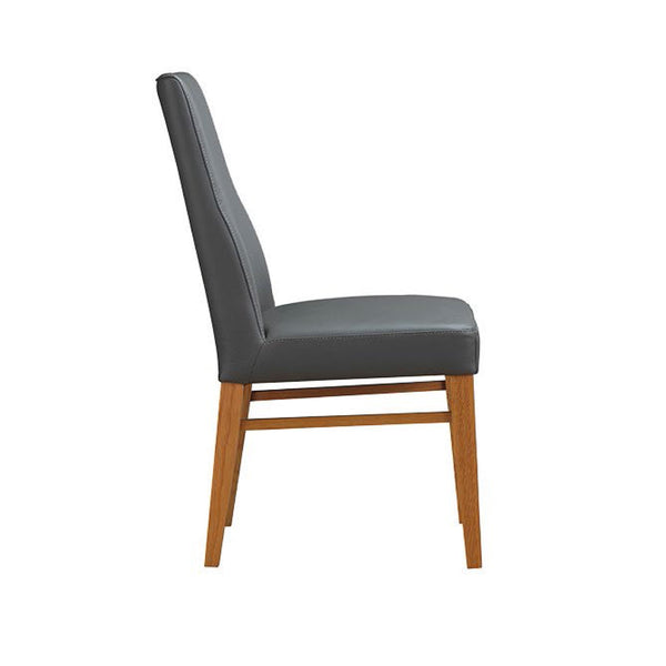Zack dining chair in leather Grey