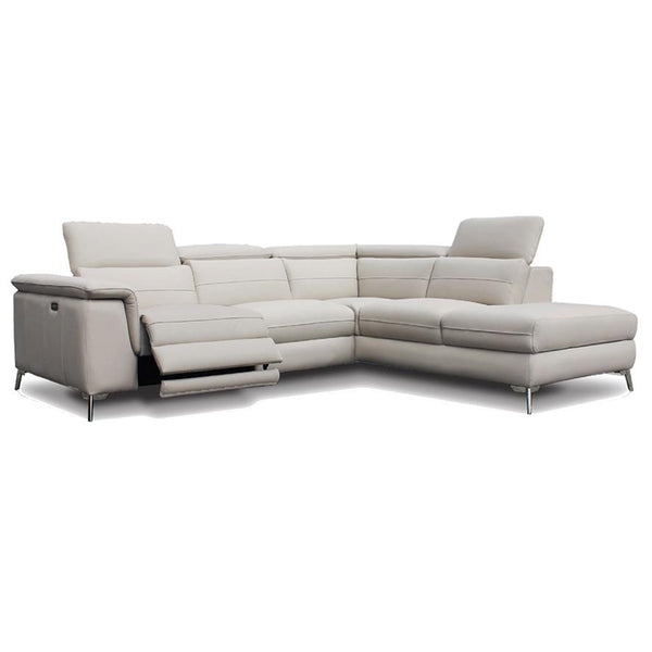 Zeta corner chaise sofa in beige leather with electric recliner and adjustable back rests