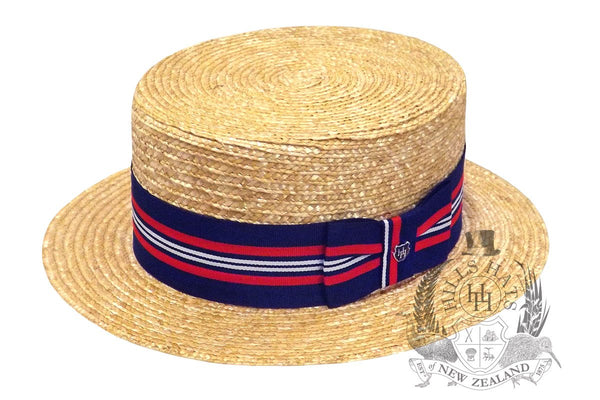 Hills Hats Straw Boater - Natural w/ Stripe Band