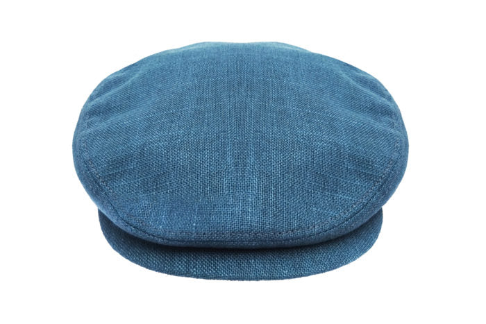 Front view of Hills Hats Portland linen Cheesecutter in navy