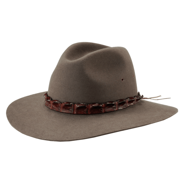 Angle view of Akubra Coolabah hat in Regency Fawn colour