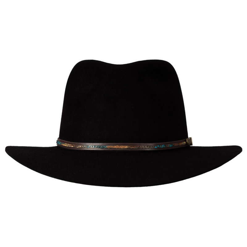 Front view of black Akubra Leisure Time hat