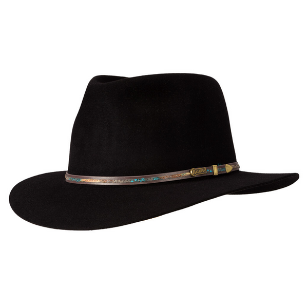 Angle view of black Akubra Leisure Time hat
