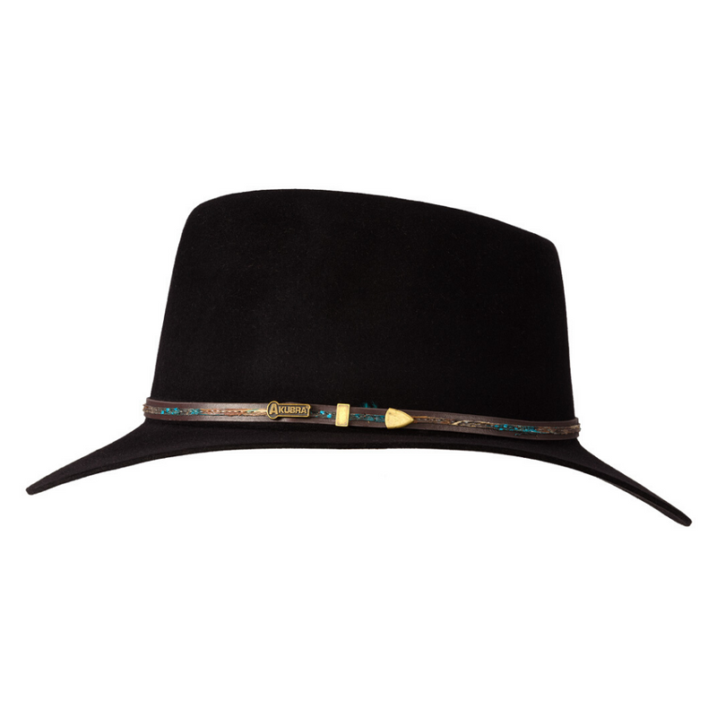 Side view of black Akubra Leisure Time hat