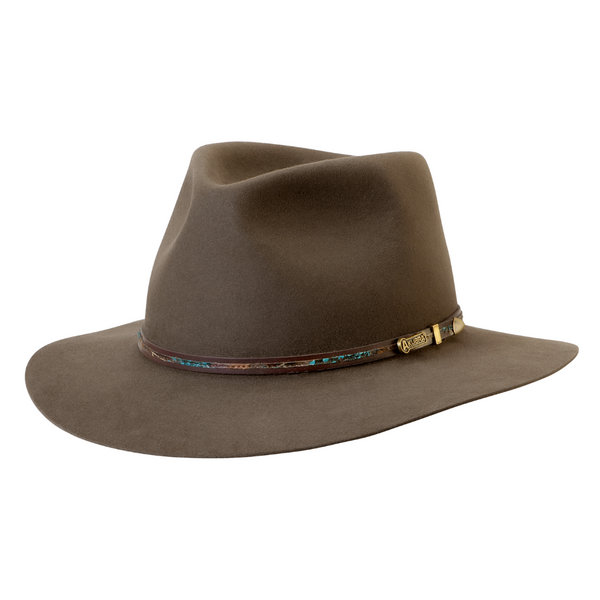 angle view of Akubra Leisure Time hat in Regency Fawn colour