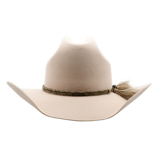 Front view of Akubra Rough rider hat in Light Sand colour