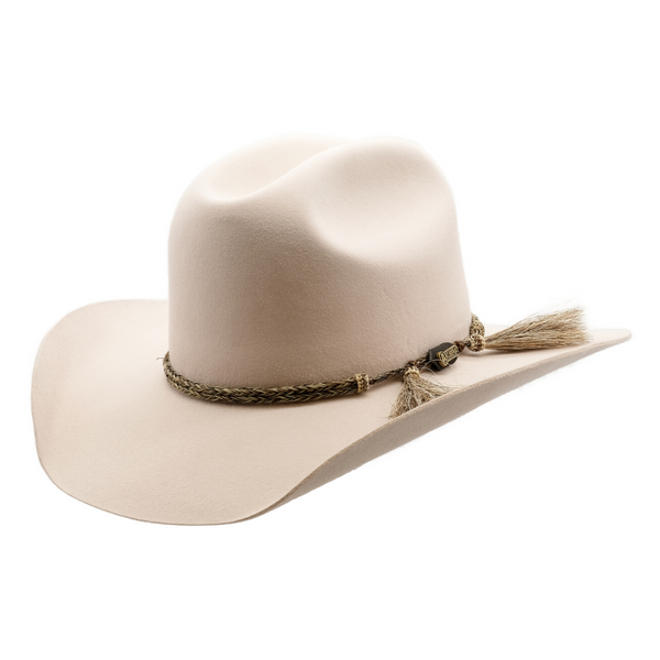 angle view of Akubra Rough rider hat in Light Sand colour