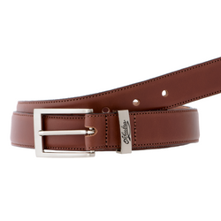View of coiled Akubra Sydney belt in tan colour