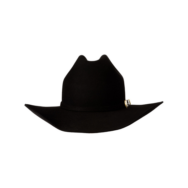 Front view of the black Akubra Big Sky 30X beaver hat