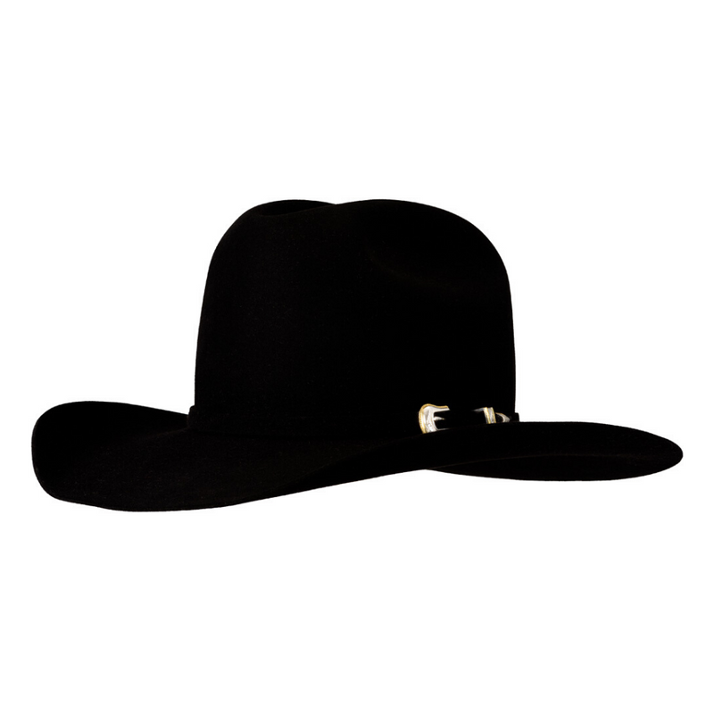 Angle view of the black Akubra Big Sky 30X beaver hat