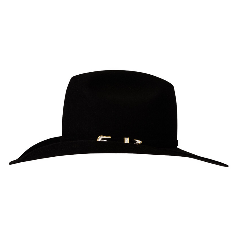side view of the black Akubra Big Sky 30X beaver hat