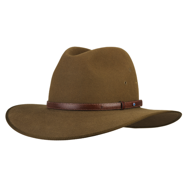 angle view of the Akubra Coober Pedy hat in Khaki colour