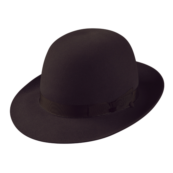 angle view of the Akubra Fedora in black, shown with an open crown