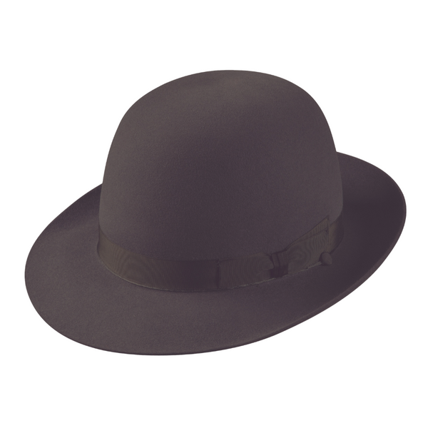 Angle view of Akubra Fedora hat in Carbon grey colour - open crown