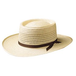 Angle view of the Akubra Planter straw hat